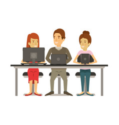 White background with teamwork sitting in desk vector