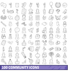 100 community cloud icons set outline style vector