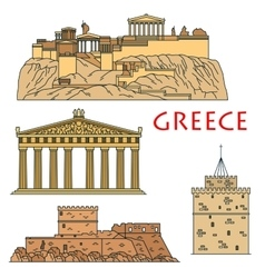 Ancient greek travel landmarks thin line icons vector