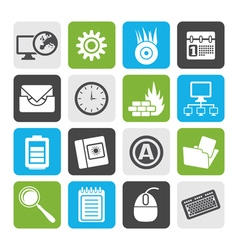 Flat computer mobile phone and internet icons vector