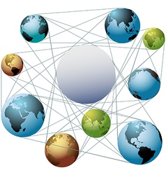 Join Earth world colors in global network vector image