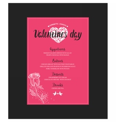 Menu template for valentine day dinner vector