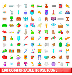 100 comfortable house icons set cartoon style vector