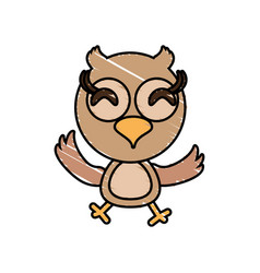 drawing owl animal character vector image