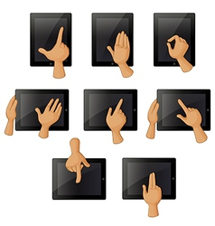 Different hand gestures when using a gadget vector