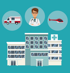 Building hospitals with circular frame of vehicles vector