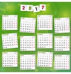 2017 year calendar on joyful green background vector