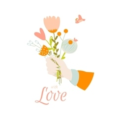 Romantic and love summer bouquet of flowers vector