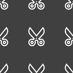 Scissors icon sign seamless pattern on a gray vector
