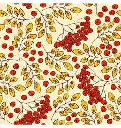 Autumn seamless pattern rowanberries and yellow vector