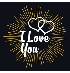 I love you in strarburst shape vector