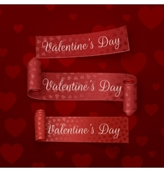 Realistic valentines day red scroll ribbons set vector