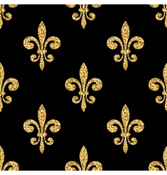 Golden fleur-de-lis seamless pattern black vector
