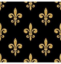 Golden fleur-de-lis seamless pattern black vector image