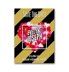 Wedding invitation decoration wit rose petals and vector
