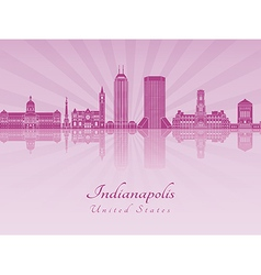 Indianapolis skyline in purple radiant orchid vector