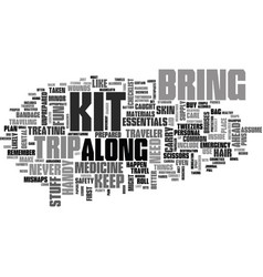 A basic traveller s kit guide text word cloud vector