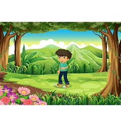 A young gentleman at the forest vector image vector image
