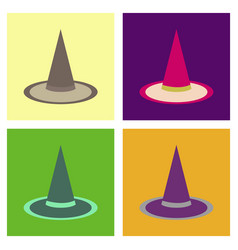 Assembly flat icons halloween witch hat vector