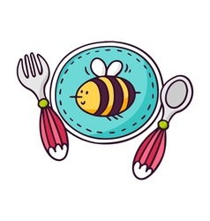 Baby tableware - plate spoon and fork - bright vector
