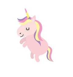 beauty unicorn dancing with hairstyle design vector image vector image