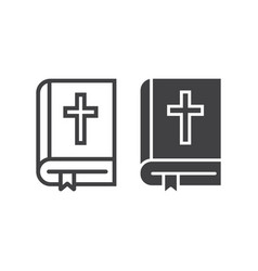 bible line and glyph icon easter and holiday vector image vector image