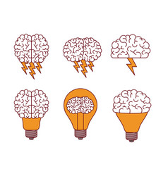 brain silhouettes with lightnings and light bulbs vector image vector image