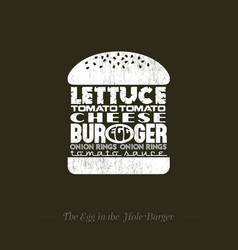 Burger with egg recipe info graphic lettering vector