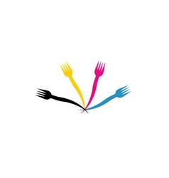 CMYK forks- Logo for a restaurant or cafe vector image