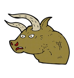 Comic cartoon angry bull head vector