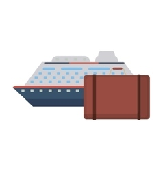 Cruise ship and suitcase icon vector
