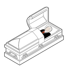 Deceased in coffin dead man lay in wooden casket vector