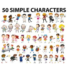 Fifty simple characters doing different things vector image