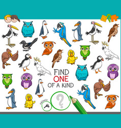Find one of a kind with birds animal characters vector