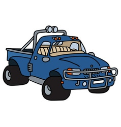Funny blue small truck vector image vector image