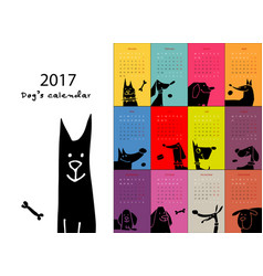 Funny dogs calendar 2017 design vector