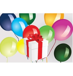 Gift box and ballooons vector image