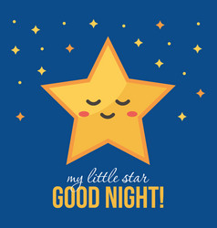 Good night card background with cute star vector