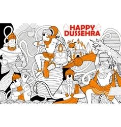 Hanuman doodle for happy dussehra navratri vector