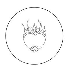 Heart in flame icon in outline style isolated on vector
