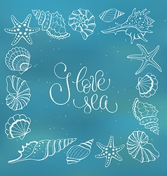 I love sea poster vector