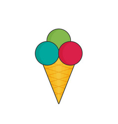 Ice cream in color flat icon style vector
