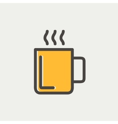 Mug of hot choco thin line icon vector