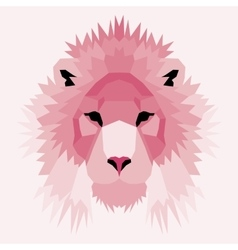 Pink low poly lion vector