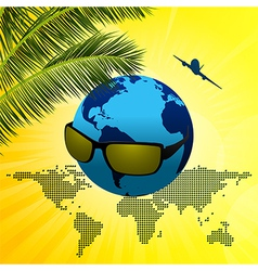 Planet earth with sunglasses on summer background vector