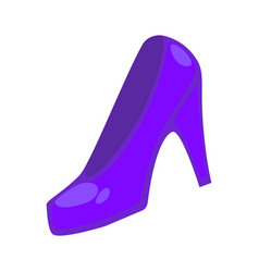 purple colored heeled shoe vector image vector image