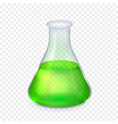 Realistic glass laboratory flask with vector