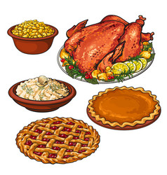 roasted turkey mashed potato and bowl of corn vector image