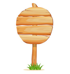 Round wooden signpost isolated icon vector