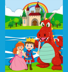 Scene with prince and princess by the river vector